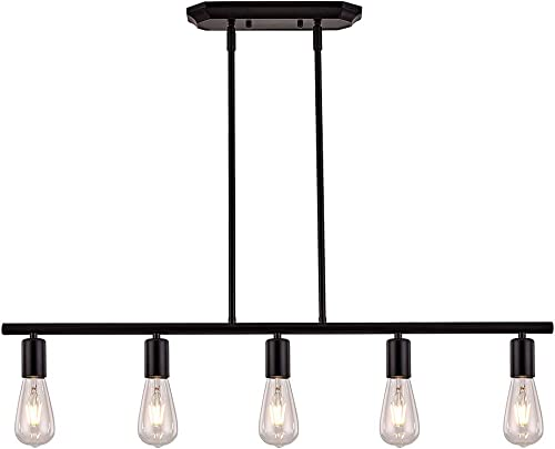 XILICON Black Farmhouse Chandelier 5 Light Industrial Linear Island Pendant Lighting Rustic Ceiling Hanging Fixture