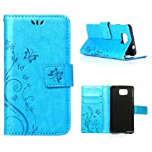 MOONCASE Galaxy Alpha Wallet Case Flower Pattern Premium PU Leather Case for Samsung Galaxy Alpha G850 Bookstyle Soft TPU [Shock Absorbent] Flip Bracket Cover Blue