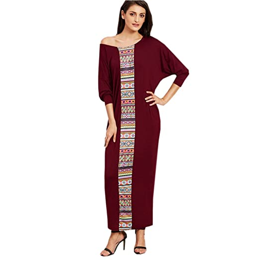 55e4787928 Women Batwing Long Sleeve Crew Neck Maxi Long Dress Plus Size Muslim ...