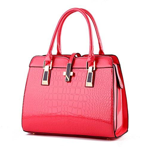 RUIREN Bolso Shopper Shoulder para Mujer, Bolso Messenger Bag para Mujer Rojo
