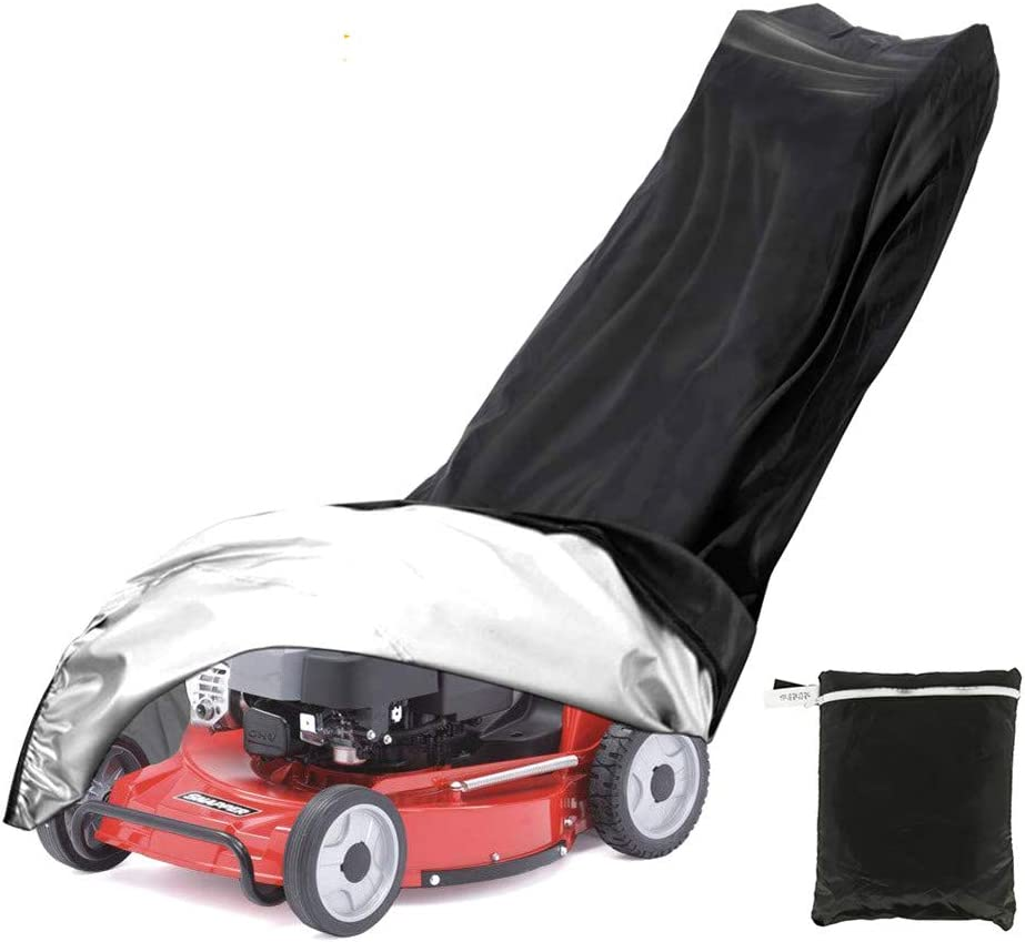 Yafeco Lawn Mower Cover - Heavy Duty 600D Polyester Oxford Waterproof, UV Protection Universal Fit with Drawstring & Cover Storage Bag(Black )