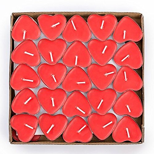 Tiean 50PCS Heart Shaped Scented Candles, Romantic Love Candle Bulk for Wedding, Birthday, Party, Halloween, Christmas, Festival (Red)