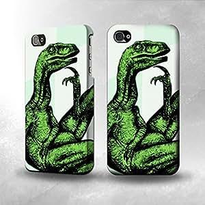 Apple iPhone 4 / 4S Case - The Best 3D Full Wrap iPhone Case - Philosoraptor Thinking Dino