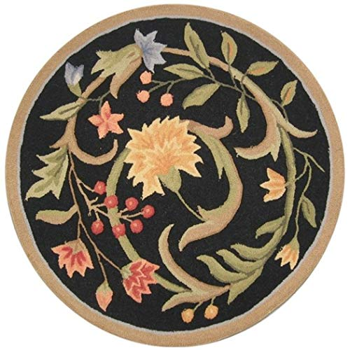 DD 4' Round Handmade Floral Garden Scrolls Black Wool Area Rug, Sophisticated Ultra Plush Natural Tone Contemporary Country Flower Solid Border, Circle Indoor Kitchen Living Room Accent Carpet
