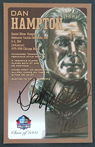 PRO FOOTBALL HALL OF FAME Dan Hampton Chicago Bears Signed Bronze Bust Set Autographed Card with COA (Limited Edition #/150)