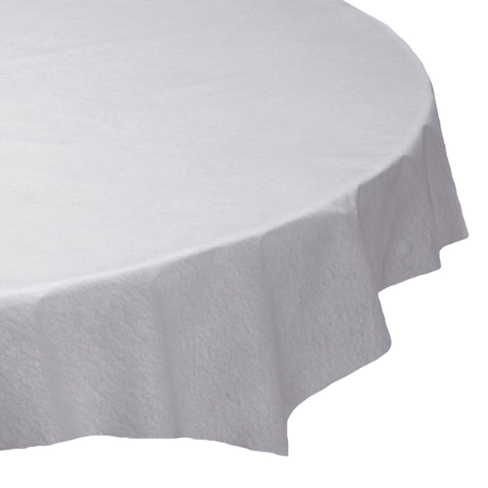 Hoffmaster 210451 Plastic Octy-Round Linen-Like Tablecover, 82'' Diameter, White (Case of 24)