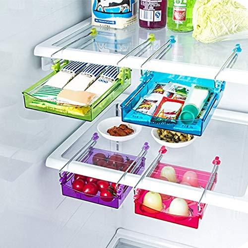 Goldyqin Refrigerador Multifuncional Caj/ón extra/íble Cocina en el hogar Comida Frescos Cajones para Almacenamiento en Rack Estante para congelador Verde