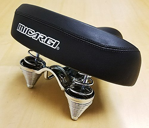 Micargi Saddle Seat - Black with Chrome or Black Springs, Classic Style Seat for Beach Cruiser Bikes, Twin-spring suspenion, Flat, Black