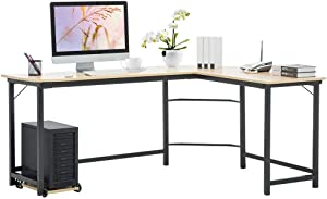 L-Shaped Computer Desk, Desktop Computer Desk,Home Office Corner Desk, Steel-Wood Computer Desk, Office Desk, White Maple Color