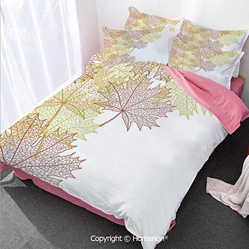 Homenon Leaves Girl's Room Cover Set King Size,Pattern with Maple Tree Fall Leaves Skeleton Dried Golden Fo,Decorative 3 Piece Bedding Set with 2 Pillow Shams Red Yellow ()