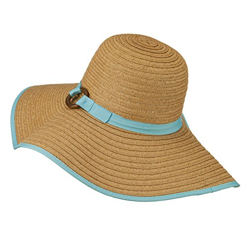 ea56bdebc9f2e Big Floppy Hat with Coconut Ring Band - Blue OSFM at Amazon Women s  Clothing store