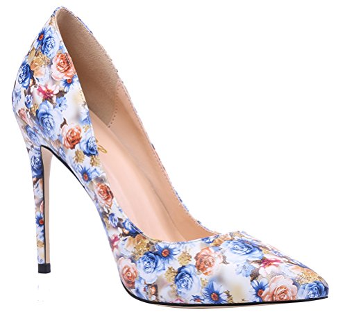 Aooar Scarpe Da Donna Glitter Con Tacco Decolletes Shoes Floral-blue