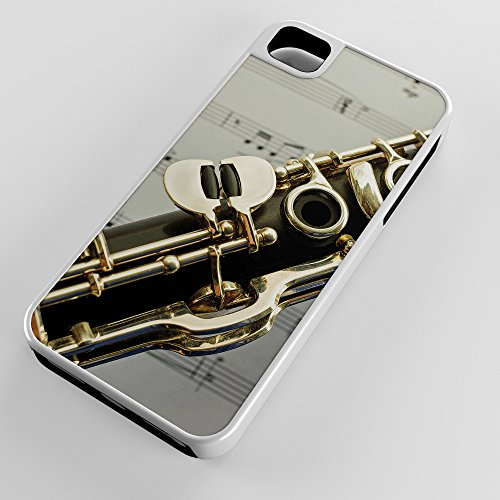 iPhone Case Fits Apple iPhone 5c Hybrid Tough Case Clarinet Single Reed Mouthpiece Flared Bell White Plastic Black Rubber