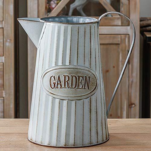 VANCORE Rustic Large Metal Pitcher Jug Vase for Flowers 6.9