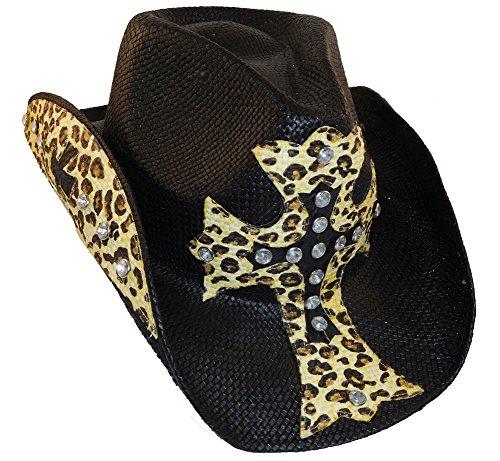 [Peter Grimm Cross Studded Zeke Drifter (One Size, Black Leopard)] (Leopard Cowboy Hat)
