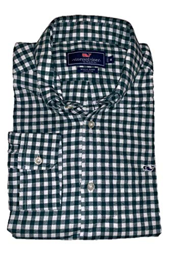 - Vineyard Vines Men's Classic Fit Whale Shirt (Large, Flannel Green Cliff Gingham)