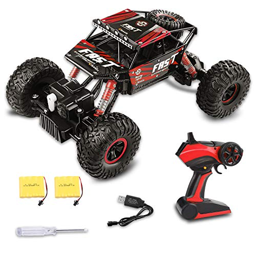 Fancy Buying Toy RC Remote Control Car Off-Road Rock Crawler Power Wheel Monster Racing Truck Vehicle 3 Channels 4 Wheel Drive (Red) ()