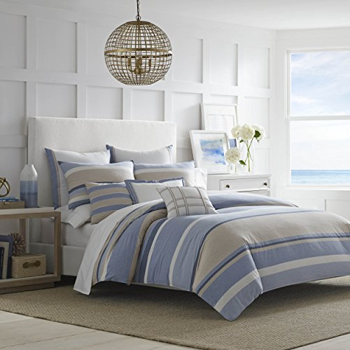 Nautica Abbott Comforter Set, Full/Queen, Medium Blue