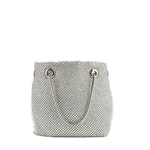 Women Hobo Bag Shoulder Bag Bead Stud Long Strap Metallic Bucket Hobo Bag Diamond Sequins Skewed Bucket Bag Handbag Chain Bag ()