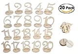 Bestoffer Wedding Table Numbers 1-20 Set by Banquet Wood Table Numbers 1 to 20 Centerpiece for Party Birthday Anniversary and Baby Shower Rustic Wood with Holder Base