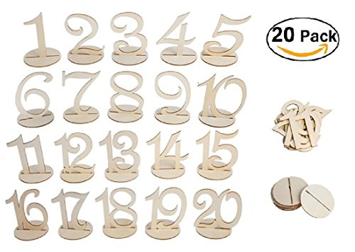 Bestoffer Wedding Table Numbers 1-20 Set by Banquet Wood Table Numbers 1 to 20 Centerpiece for Party Birthday Anniversary and Baby Shower Rustic Wood with Holder Base by Bestoffer