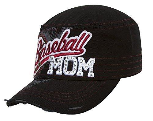 TopHeadwear Baseball Mom Distressed Adjustable Cadet Cap - Black by HLC (Image #1)