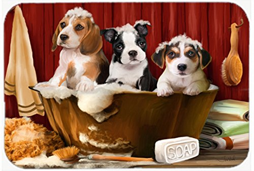 Caroline's Treasures PTW2047JCMT Beagle Boston Terrier and Jack Russell in the Tub Kitchen or Bath Mat, 24 by 36
