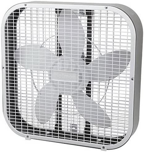 Holmes HBF2010A-WM 21-Inch by 4.5-Inch Box Fan, 3 Speed-Settings, Metal Frame, 20-Inch Blade, White