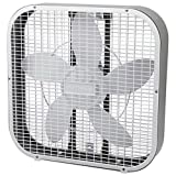 Image of Holmes HBF2010A-WM 21-Inch by 4.5-Inch Box Fan, 3 Speed-Settings, Metal Frame, 20-Inch Blade, White
