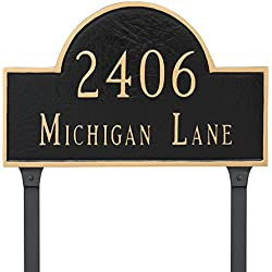 "Montague Metal 10.5"" x 16.5"" Classic Arch Two Line Address Sign Plaque with Lawn Stakes, Standard, Chocolate/Gold"