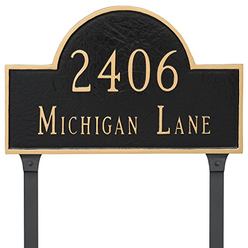 Montague Metal Classic Arch Estate Two Line Address Sign Plaque with Lawn Stakes, 14