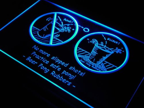 Pong Rubbers Bar Neon Light Sign ()
