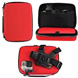Navitech Red Shock Proof Action Camera Case/Cover Compatible with The HEIHEI 1080P 4K Ultra HD Wireless Sports Camera, 2.0 Inch
