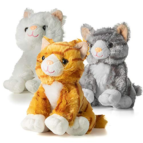 Prextex 10-Inch-Tall Realistic Looking Big Plush Stuffed Animals Cats Pack of 3 -