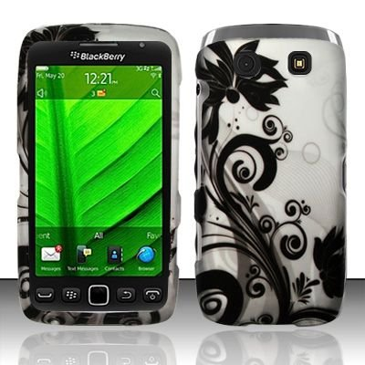 For Blackberry Torch 9850 / 9860 (Verizon/sprint) Rubberized Black Vines Design Snap-on Protector Shell Case Hard Cover (Blackberry Torch Skin)