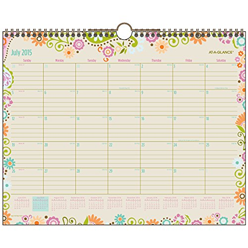 AT-A-GLANCE Monthly Wall Calendar, Garden Party Design, Academic Year, 12 Months, July 2015-July 2016, 14.875 x 11.875 Inch Page Size (W150-707A) (July 2015 Calendar Wall Academic)
