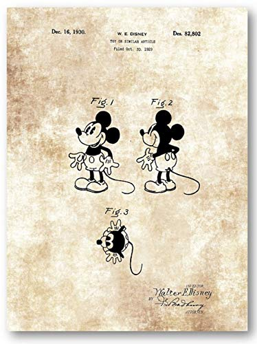 (Mickey Mouse Drawing - 11 x 14 Unframed Patent Print - Great Gift for Disney Fans)