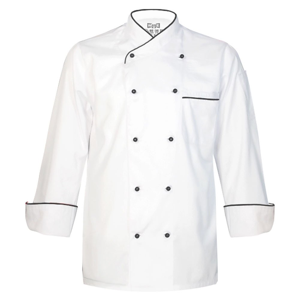 10oz apparel Long Sleeve White Chef Coat With Black Piping