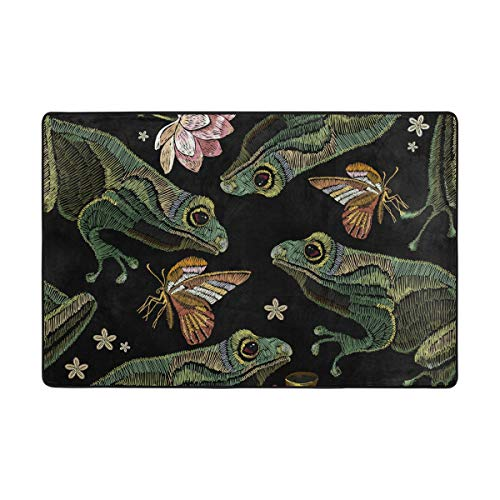 (Carpet Area Rug Embroidered Frog Design Pad for Carpeted Floors Pads 72 x 48 Inch)