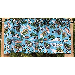 Handcrafted Curtain Valance Sewn From John Deere Tractor Model M Tractor Collage Farm Touch-o-matic Quik-Tatch Deer Cotton Fabric