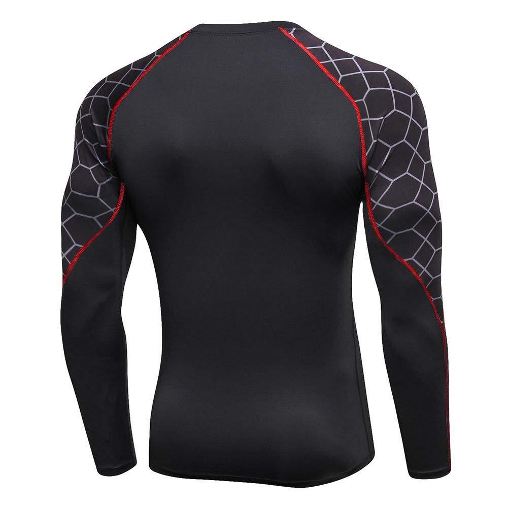 Hankyky Hommes /À S/échage Rapide Sport T-Shirt /À Manches Longues /Élastique Chemises De Gymnase Courir Tight-fit Top