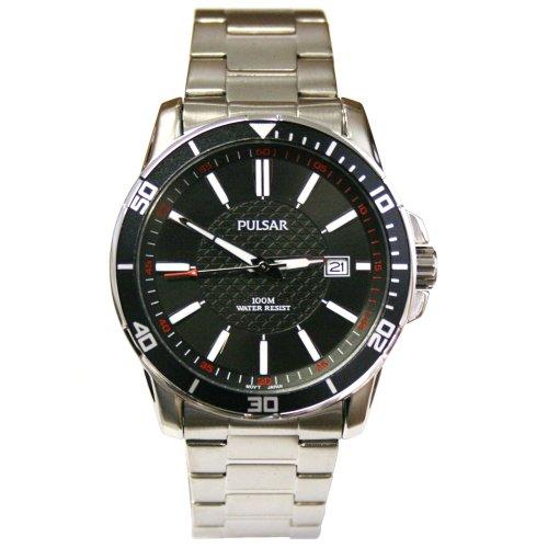 Pulsar PXHA15 Mens Bracelet Watch Black Dial and Bezel Stianless Steel