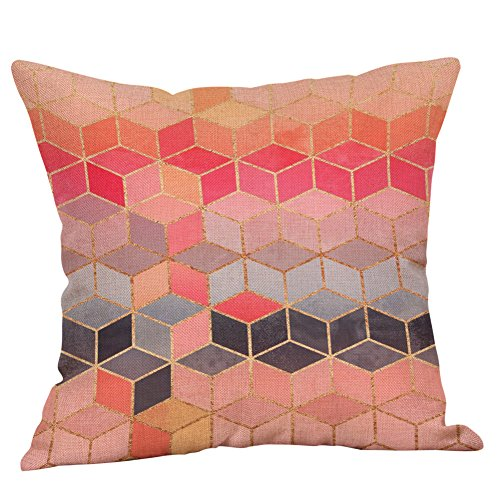 (Fulijie Three-Dimensional Small Diamond Throw Pillow Covers Cushion Case Outdoor for Car Sofa Bed Couch 18x18 Inch)