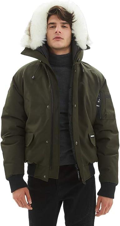 Mens Winter Warm Long Sleeve Parka Padded Jacket Zipper Bomber Outwear Coat S-XL