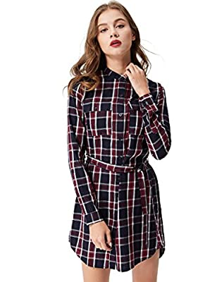 Glostory Women's Vintage Plaid Check Long Sleeve Button Up Casual Shirt Dress 3011