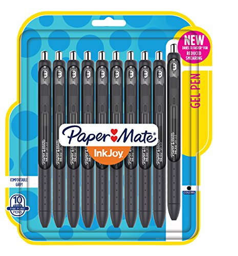 Paper Mate InkJoy Gel Pens, Fine Point, Black, 10 (Retractable Gel Pen)