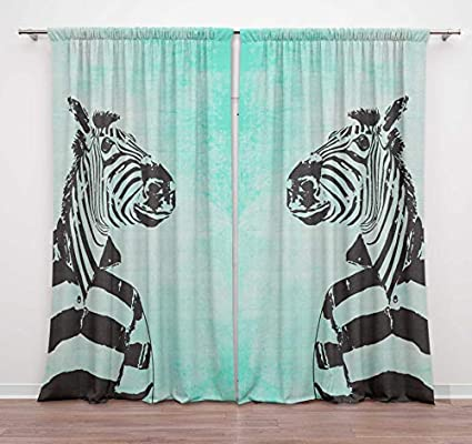 Timingila Green Zebra Dress Up Funny Character Printed 2 Pcs Door Curtains For Bedroom Rod Pocket Window Curtain Decorative Home Accessories 54 X 56 Inches Buy Online At Best Price In Uae Amazon Ae