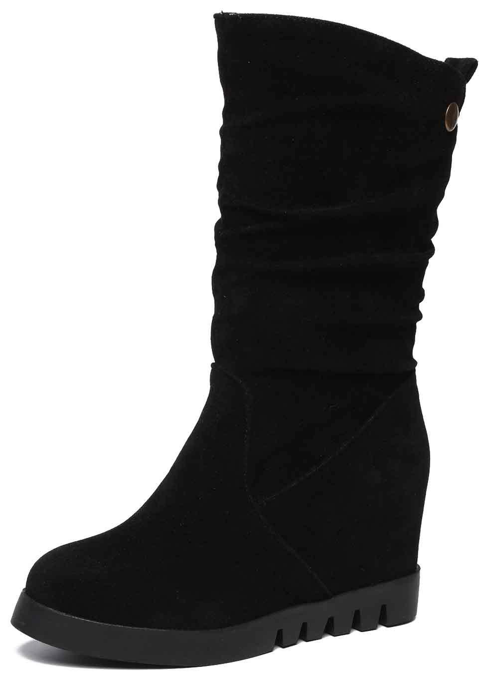 Aisun Women's Dressy Ruffled Mid Calf Boots - Trendy Platform Round Toe Pull On - Hidden Wedge Lug Sole (Black, 9.5 M US)