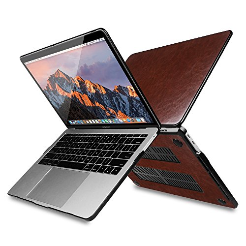 Fintie Protective Case for MacBook Pro 13 2018 & 2017 & 2016 Release - PU Leather Coated Hard Cover for Newest 13-inch MacBook Pro 13'' A1989/A1706/A1708 with/Without Touch Bar and Touch ID, Vin-Brown by Fintie (Image #4)