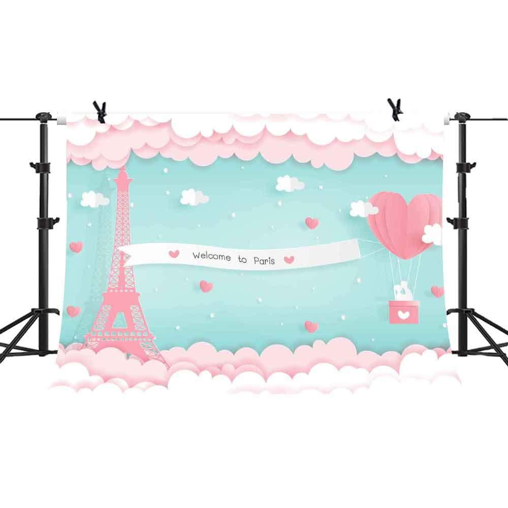 パリエッフェル塔背景幕 ピンククラウド ハートパターン ファイヤーバルーン 写真背景 結婚式 バケーション ビニール背景幕 フォトスタジオ小道具 10x7フィート PHMOJEN PPH388   B07HR3H326